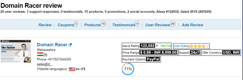 domainracer best hosting services rating